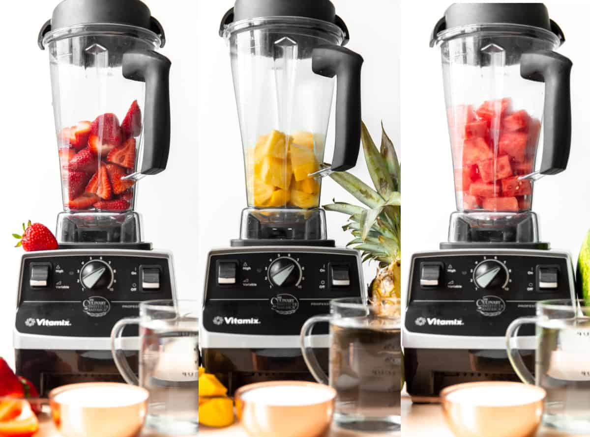 Collage of 3 blenders showing blending strawberries, mango, and watermelon agua fresca.