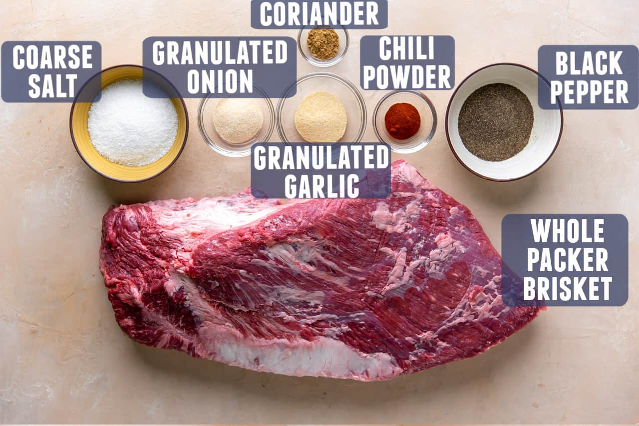 Ingredients needed for smoking a brisket laid out on the counter.