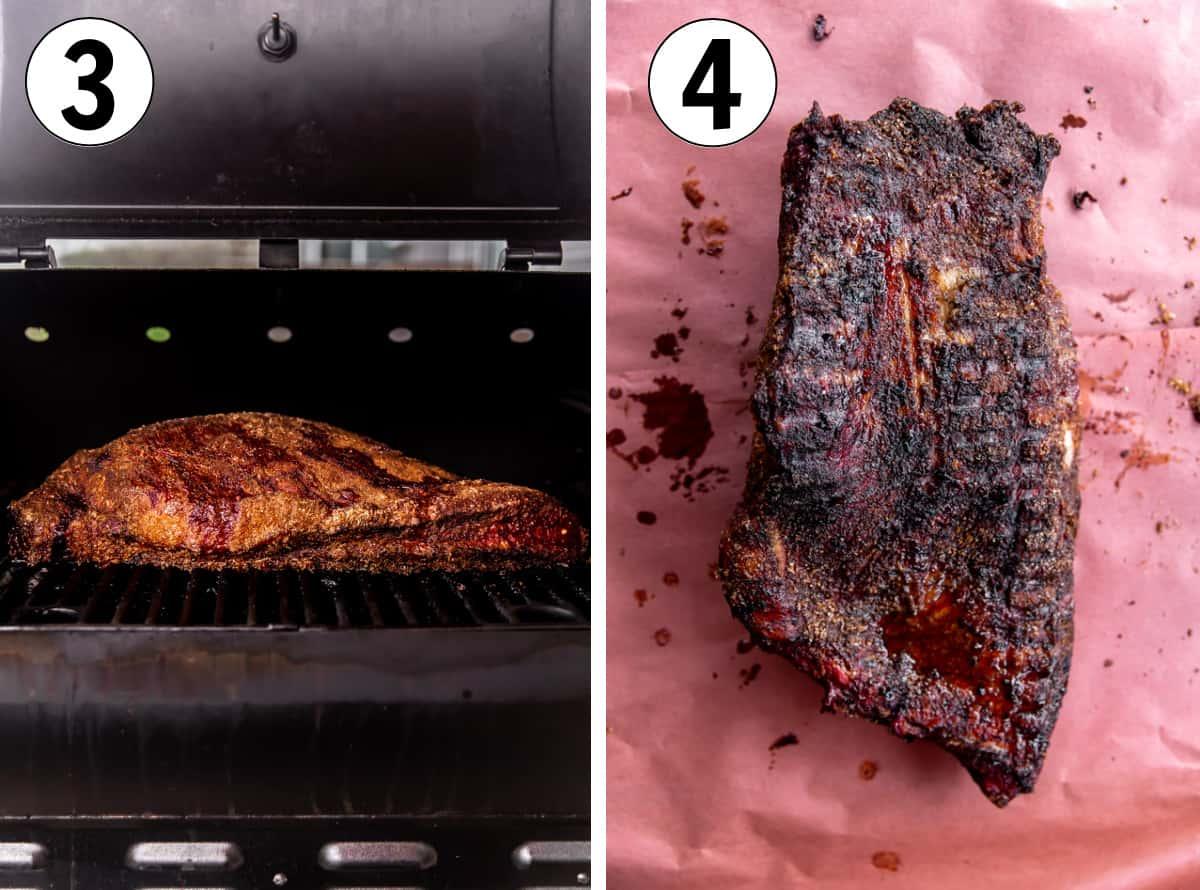 Brisket on the smoker, then a smoked brisket on peach paper showing a dark bark.