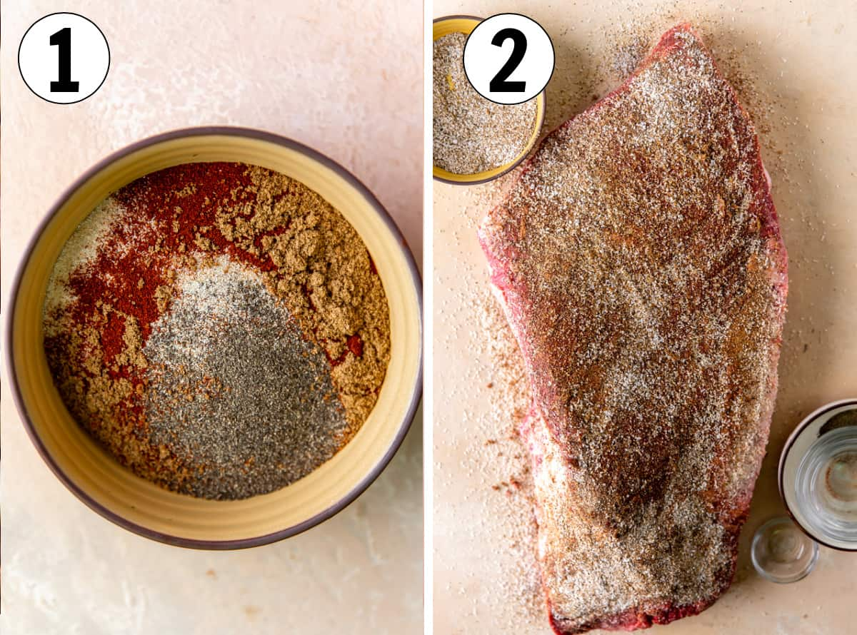 Step by step preparing a brisket for smoking, rub ingredients in a small bowl, rub being added to the top of the brisket.