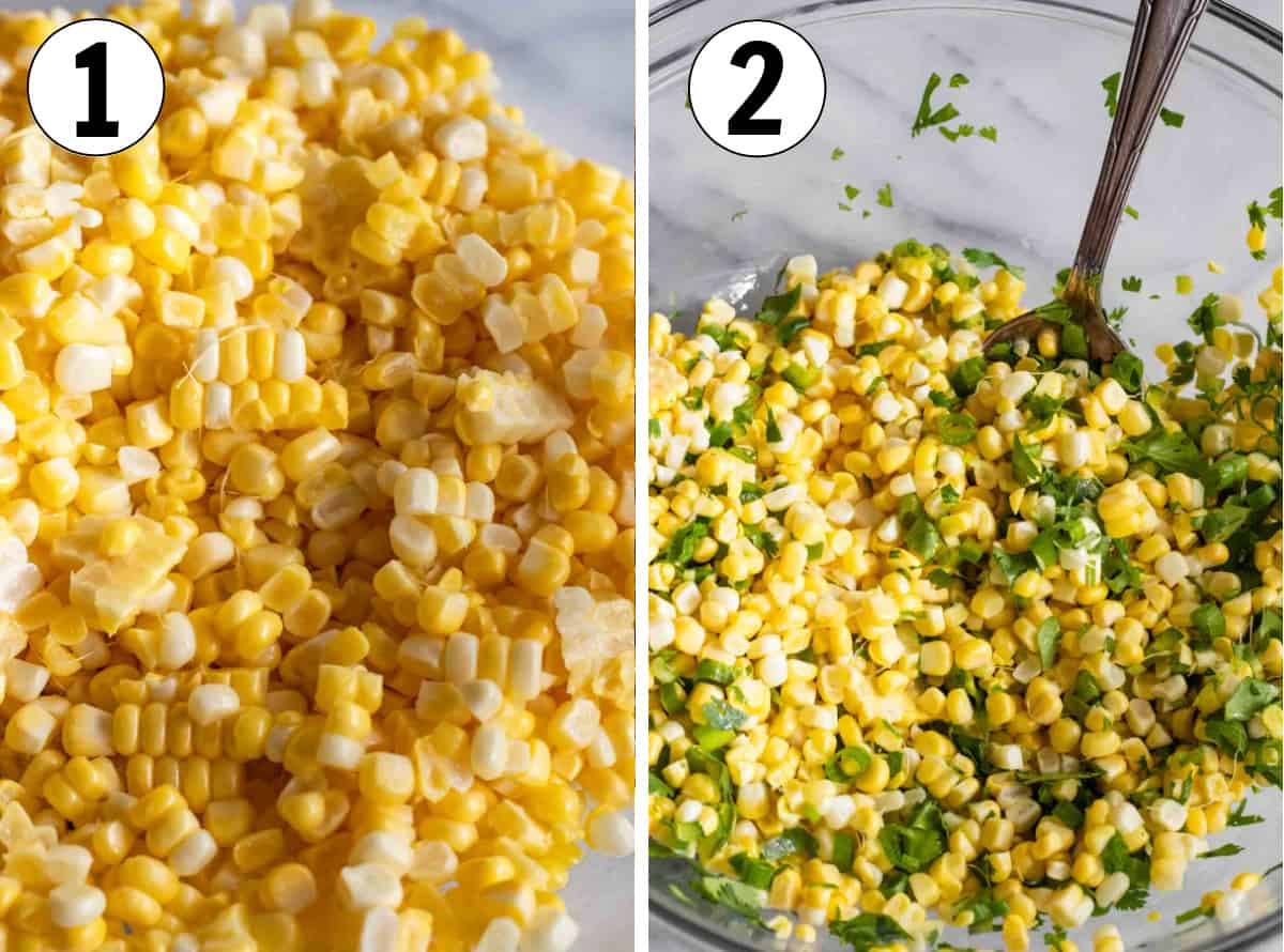 Collage showing corn kernels, then being mixed with diced jalapeno and green onion.