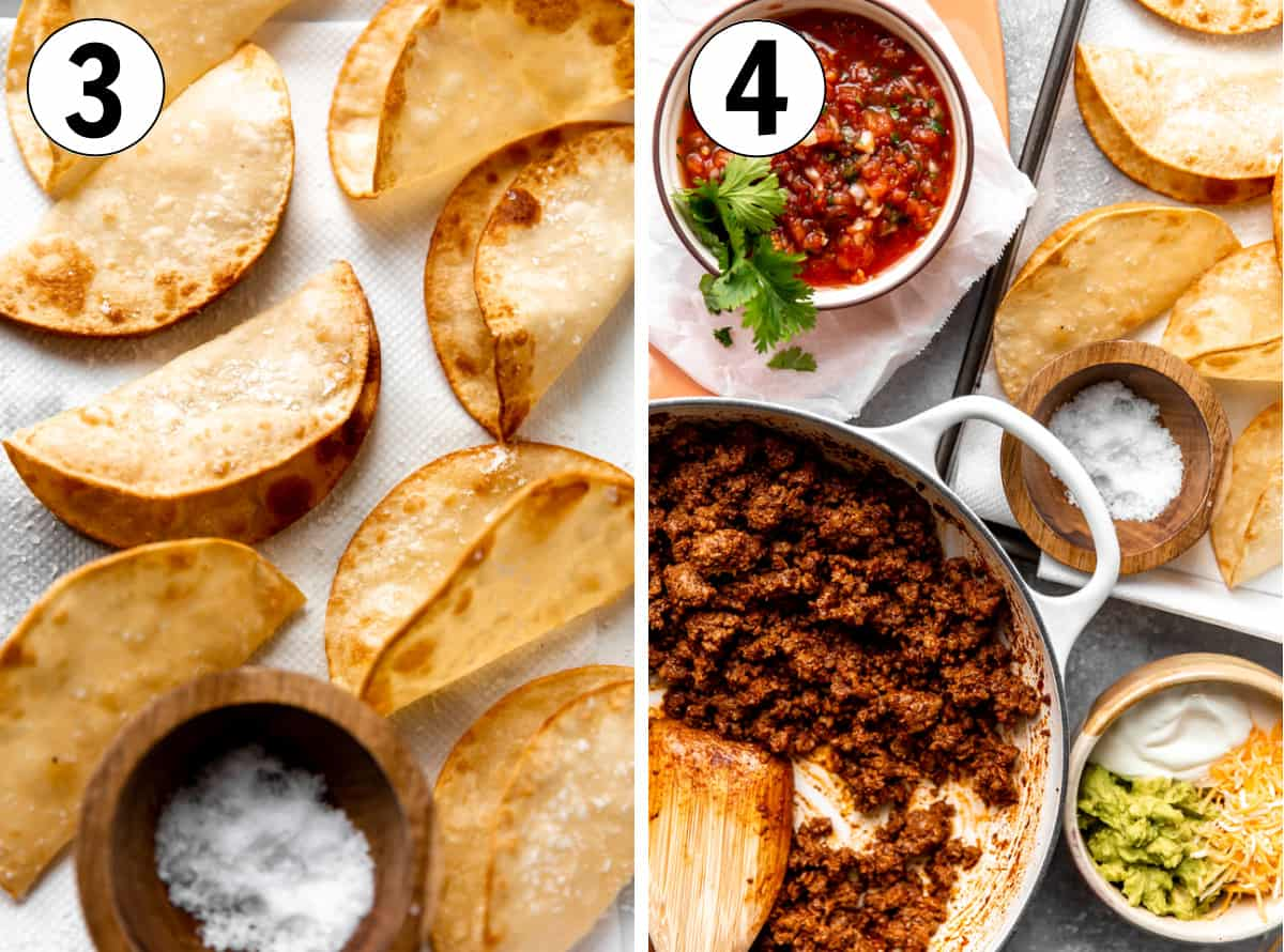 Step by step how to make ground beef tacos, showing fried corn tortillas then filling the tortillas with taco meat and toppings.