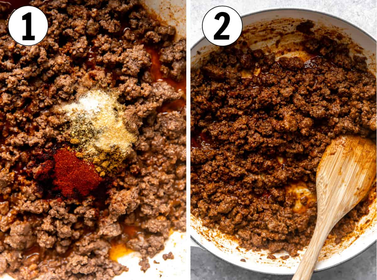 Step by step how to make ground beef taco meat showing ground beef in a skillet, cooked, adding seasoning, then cooking with tomato sauce.