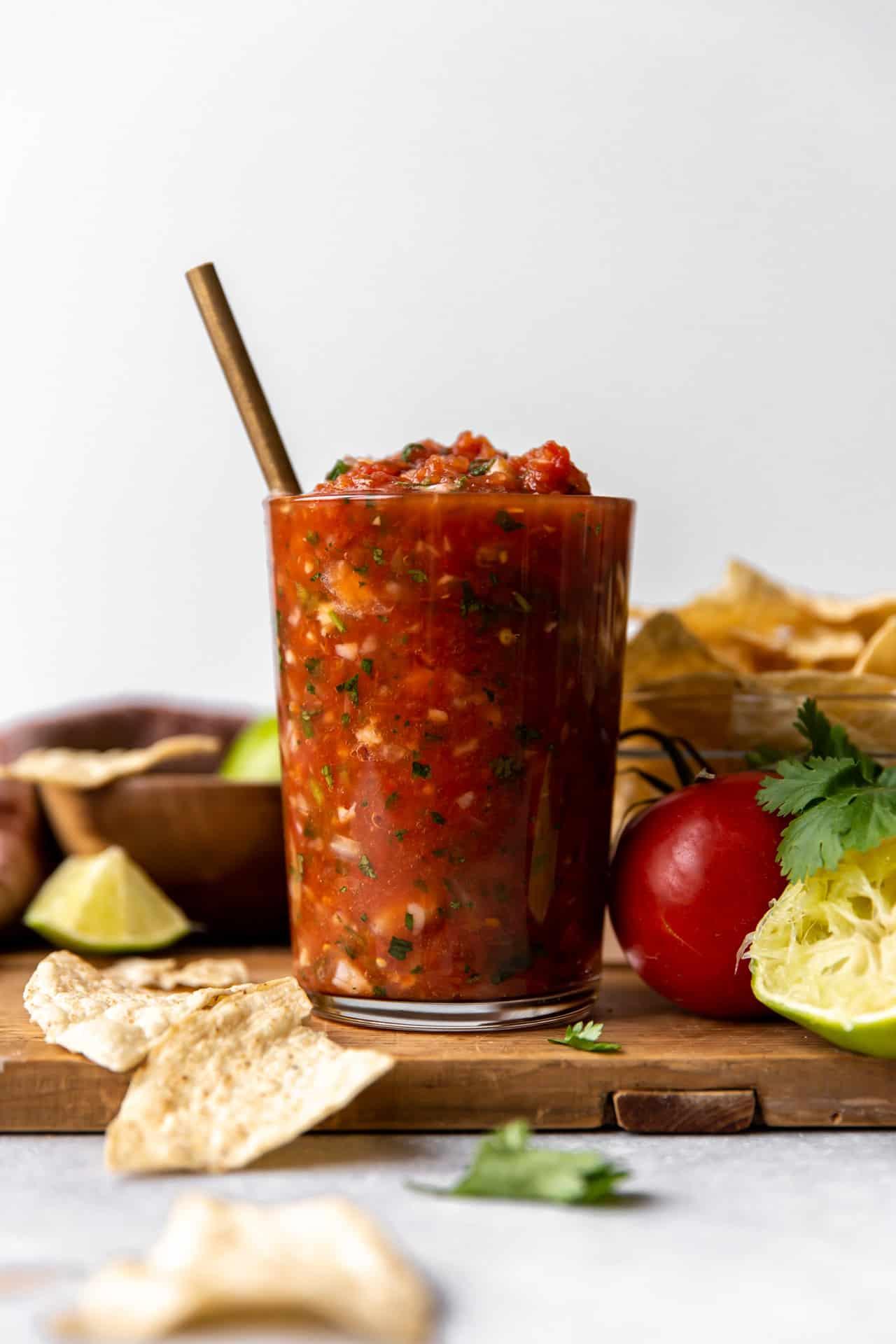 Jar of fresh homemade salsa.