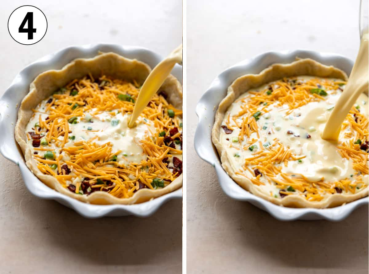Pouring egg mixture into a pie dish with a baked pie crust and filled with bacon, cheese and green onion.