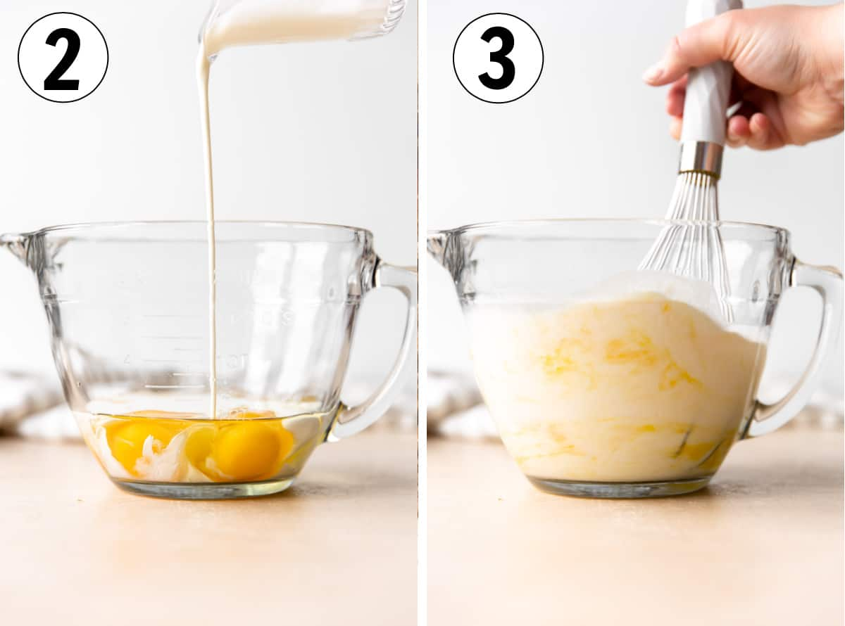 Collage showing how to measure out eggs and milk into a large measuring cup.