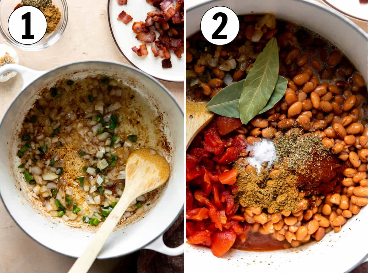 Step by step how to make borracho beans, showing sauteing onions, jalapeno and garlic in bacon grease, then adding remaining ingredients to cook broth.
