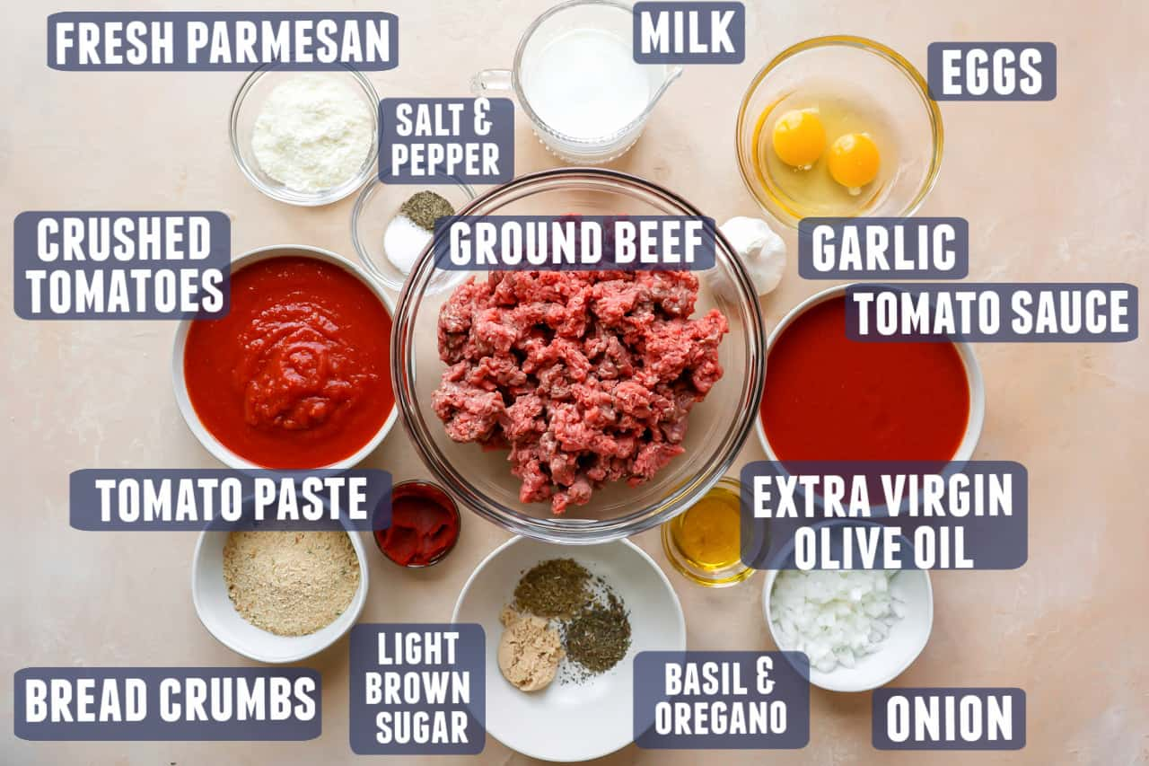 Ingredients needed to make easy meatballs in sauce laid out on the counter.