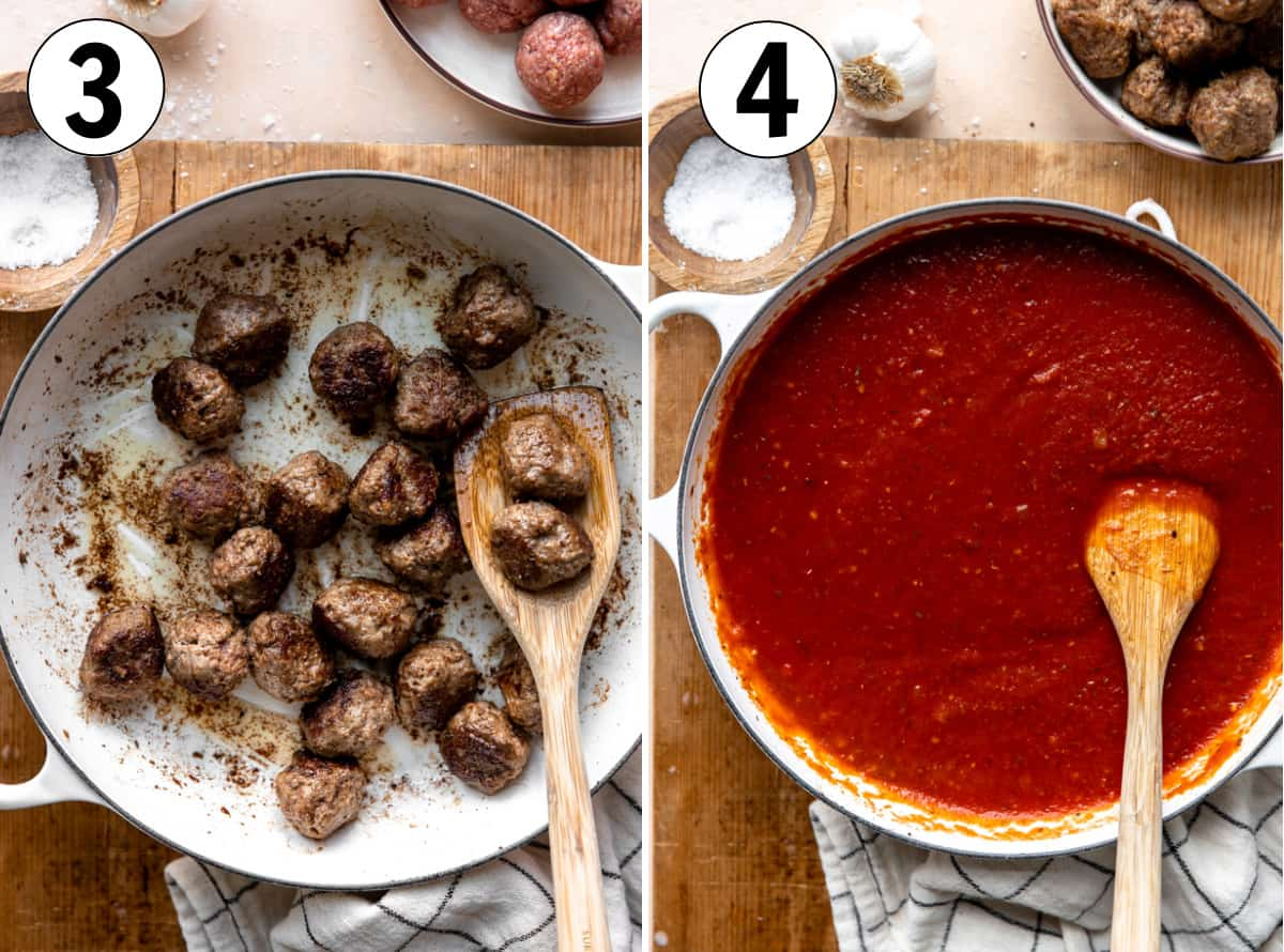 collage showing searing meatballs in a skillet then making a marinara sauce to simmer them in.