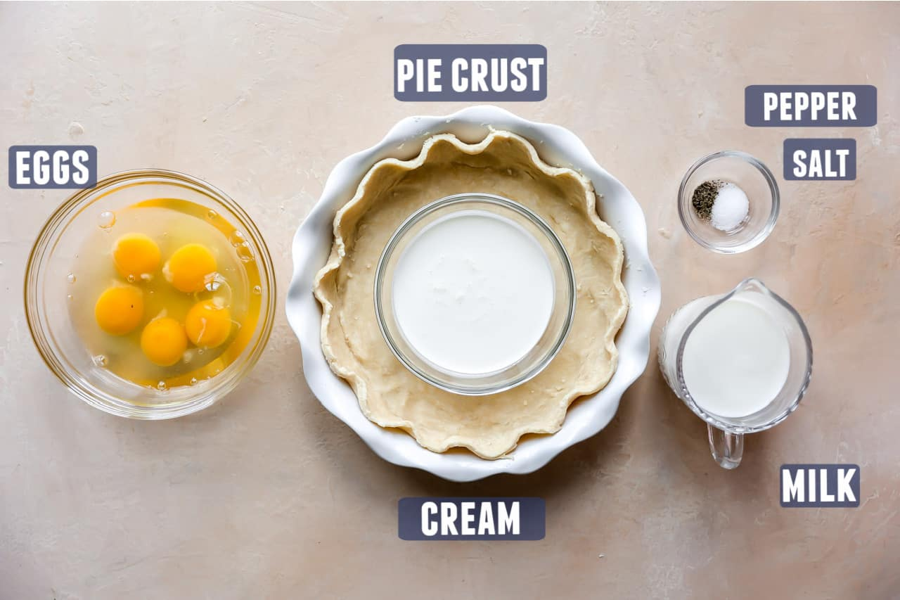 Ingredients needed for a basic quiche recipe laid out on the counter.