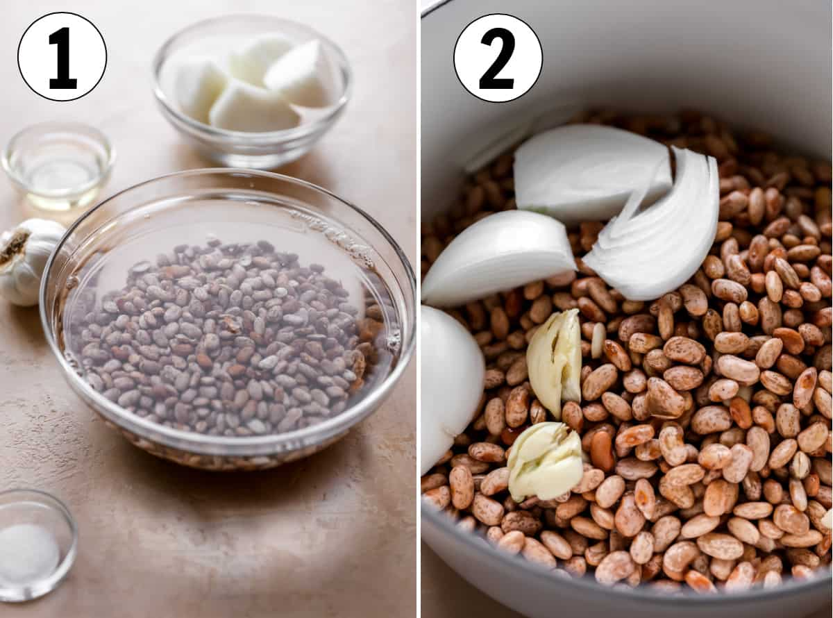 Step by step, how to make authentic refried beans. Showing soaking the beans and adding the ingredients to a large pot.