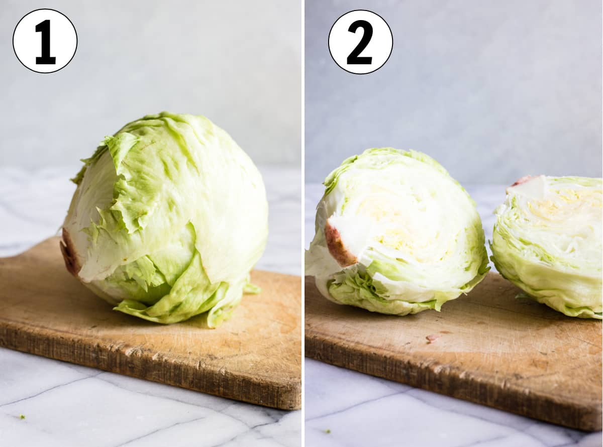 Step by step showing how to cut iceberg lettuce to make a wedge salad. Shows cutting a head of lettuce in half.