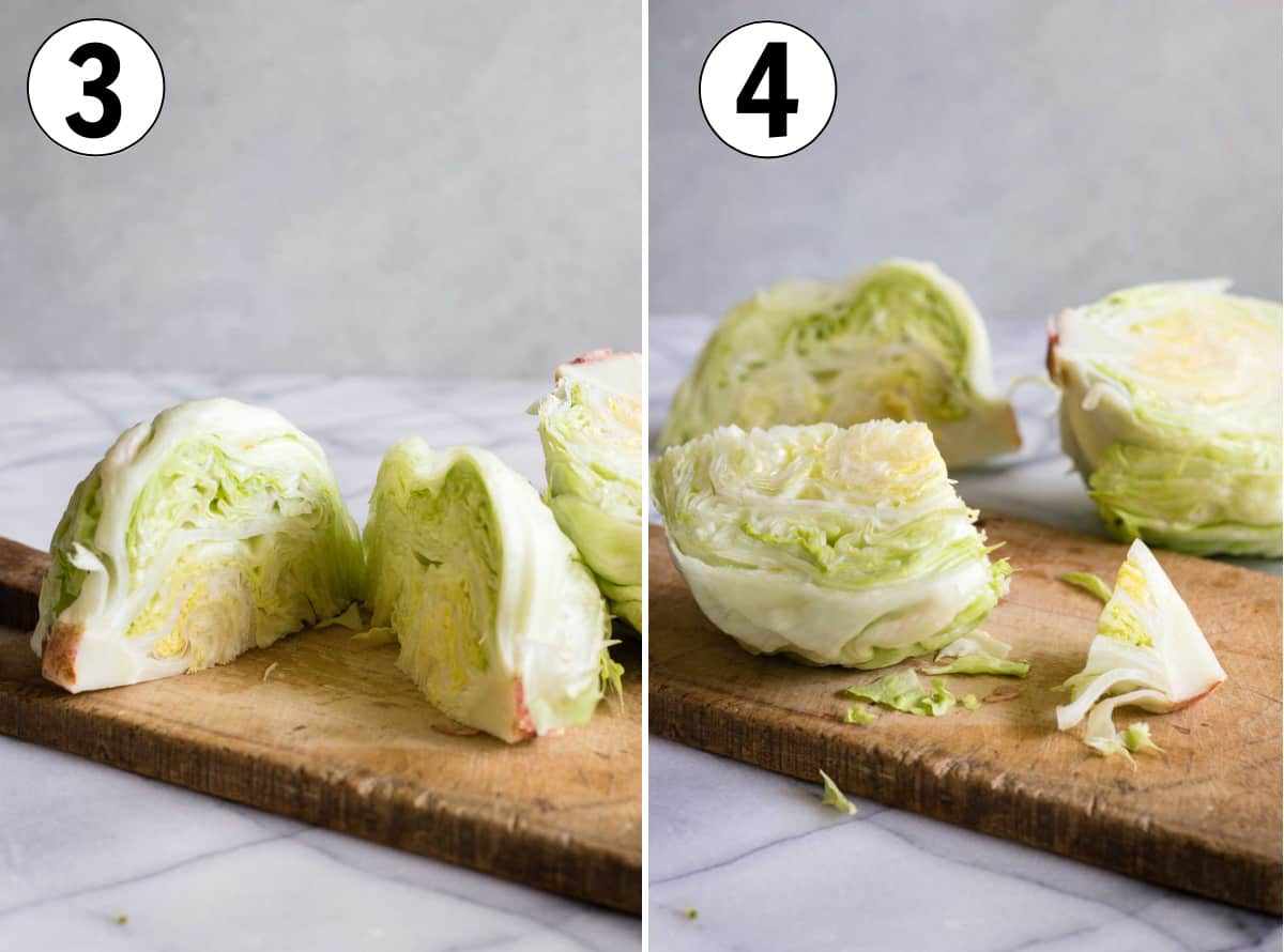 Showing cutting half a head of lettuce into quarters, then cutting off the stem.