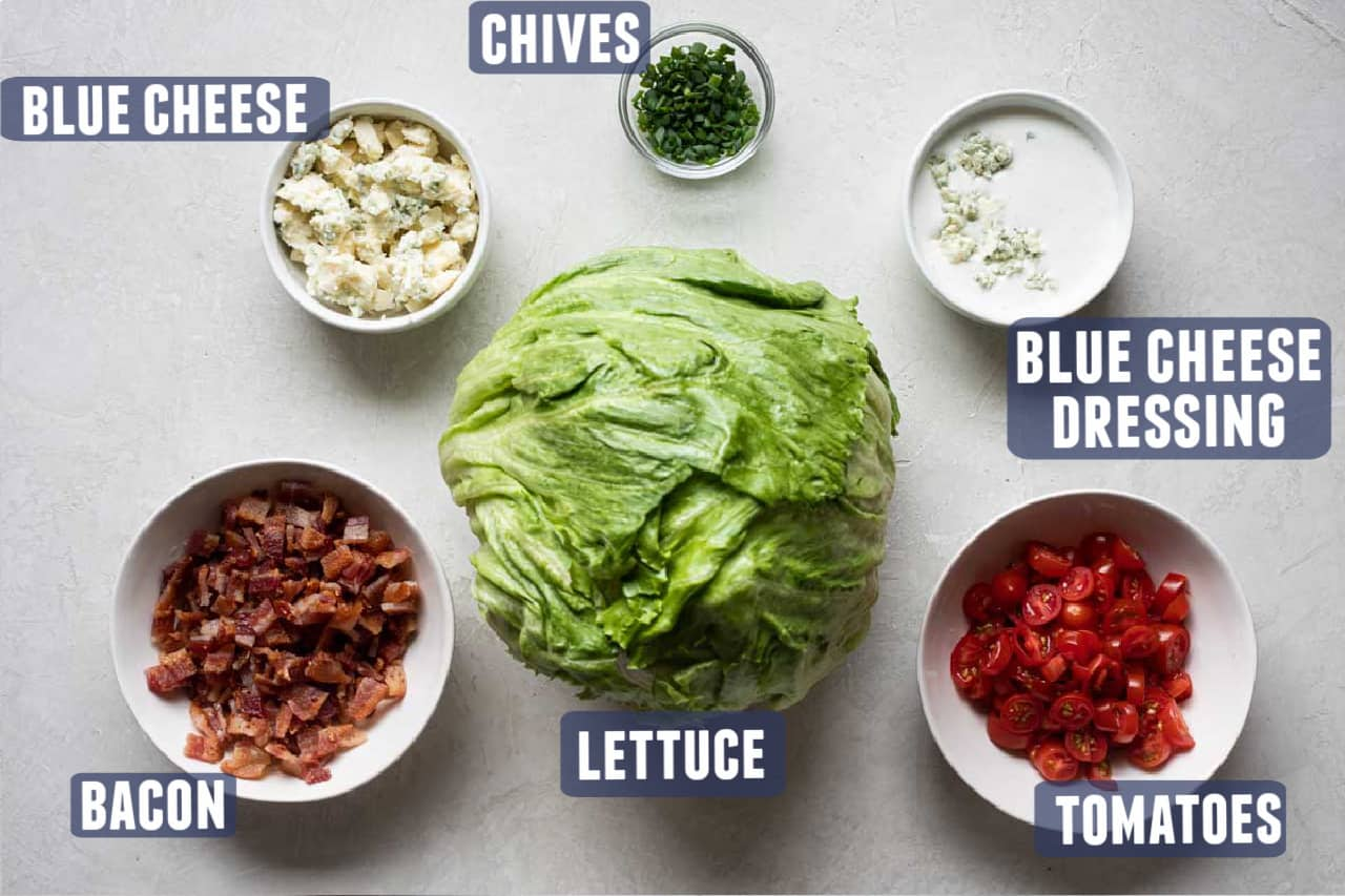 Ingredients Needed for making a wedge salad laid out on the counter.