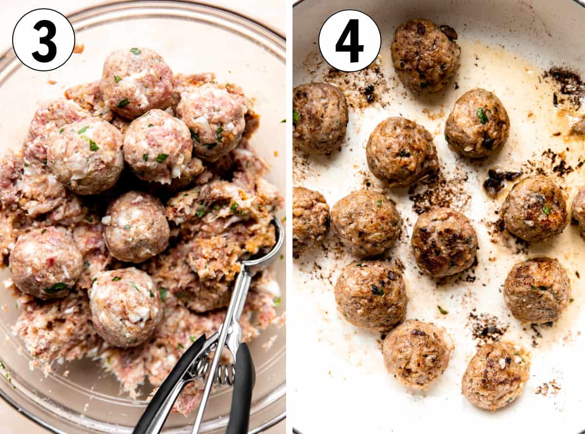 Step by step how to make bacon meatballs showing meat being scooped out and formed into round balls and cooked in skillet.