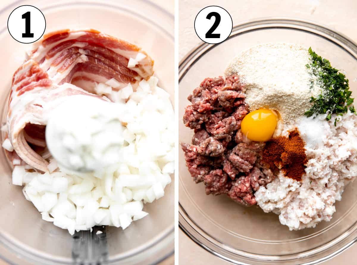 Step by step how to make bacon meatballs, showing processing bacon to grind it and being added to additional ingredients in a glass bowl to mix.