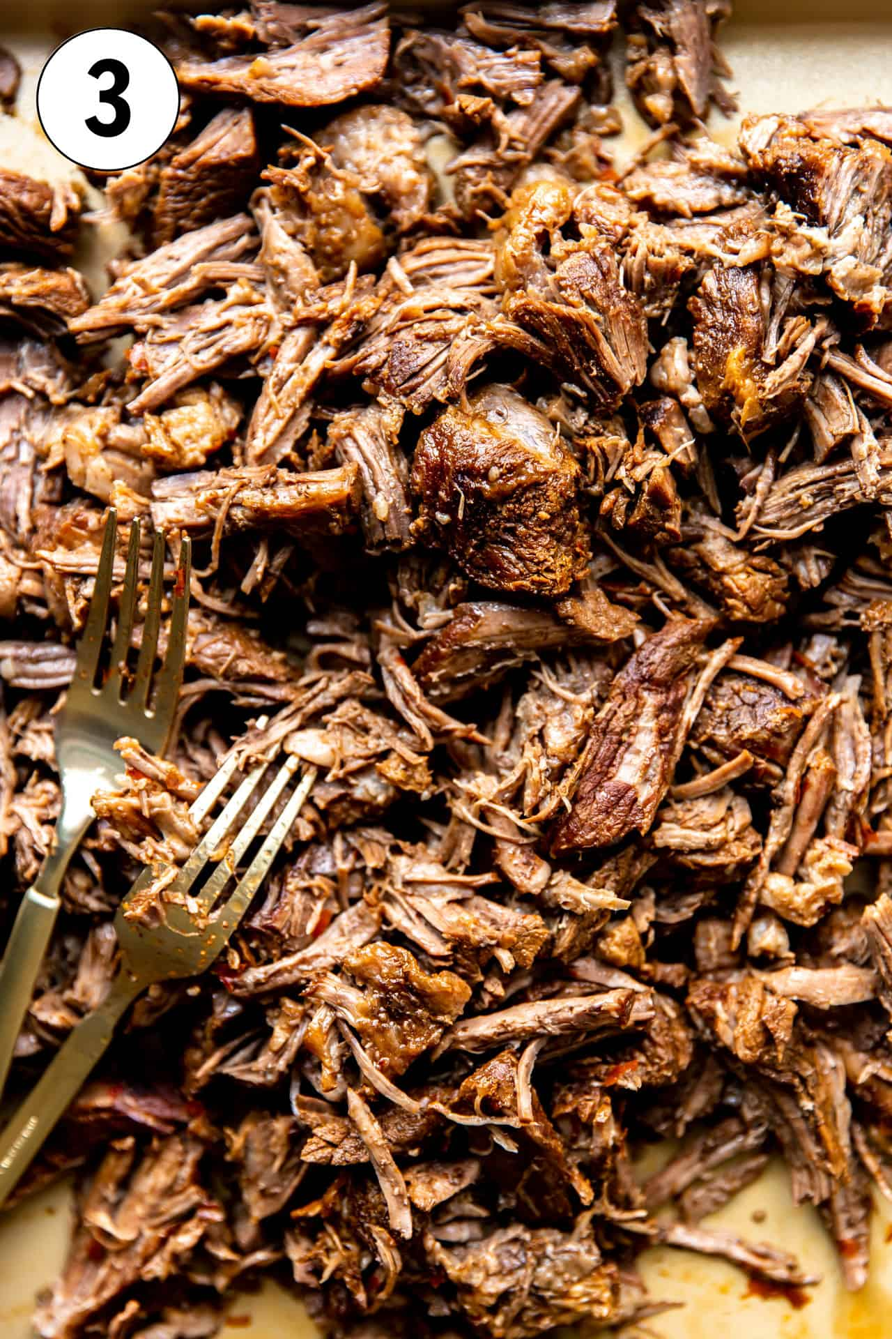 Chopped up beef from homemade birria.