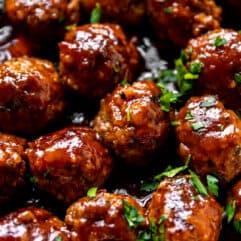 Up close pinterest image for bacon bourbon meatballs