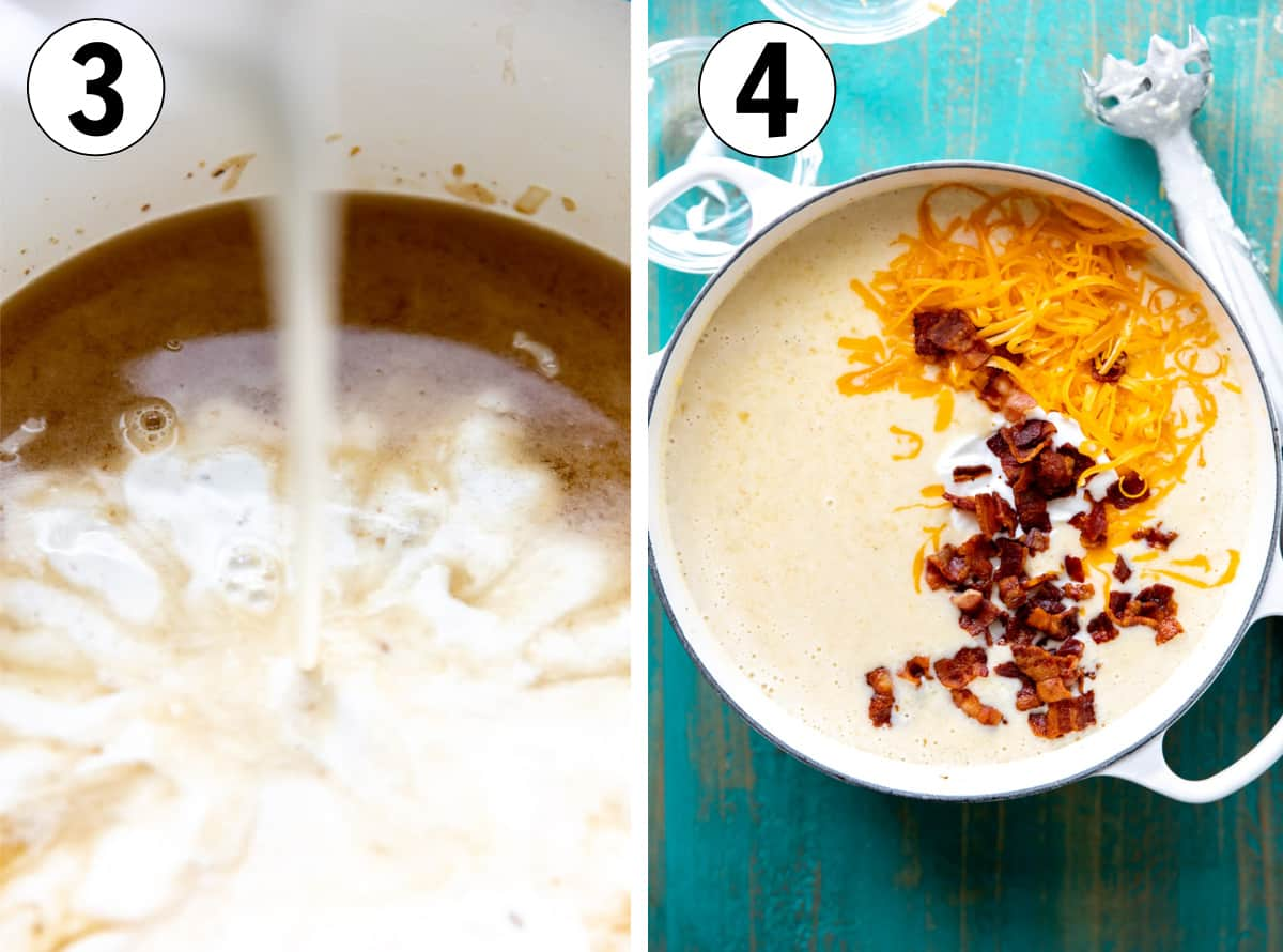 How to make potato soup, showing adding milk to the broth mixture, then soup after being blended.