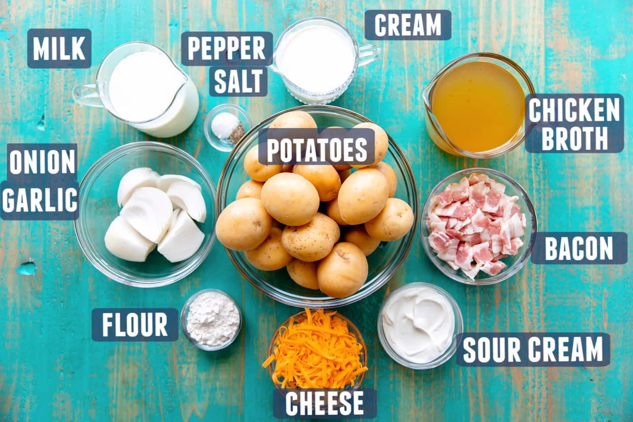 Ingredients needed for potato soup laid on the counter.