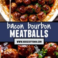 Pinterest collage image bacon bourbon meatballs