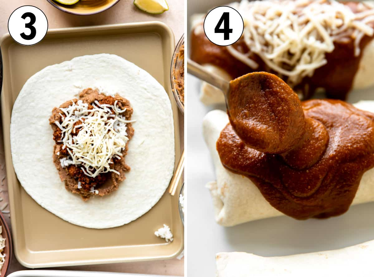 Step by step image showing how to fill a tortilla to make a burrito, then a rolled burrito being covered with enchilada sauce.
