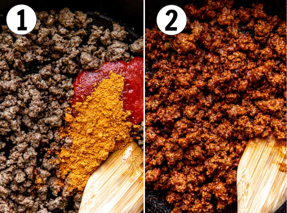 Step by step images showing making ground beef for a wet burrito.