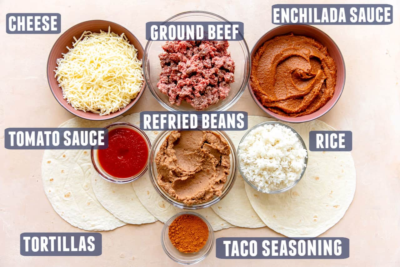 Ingredients needed to make a wet burrito laid out on the counter.