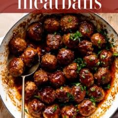 pinterest image, bacon bourbon meatballs