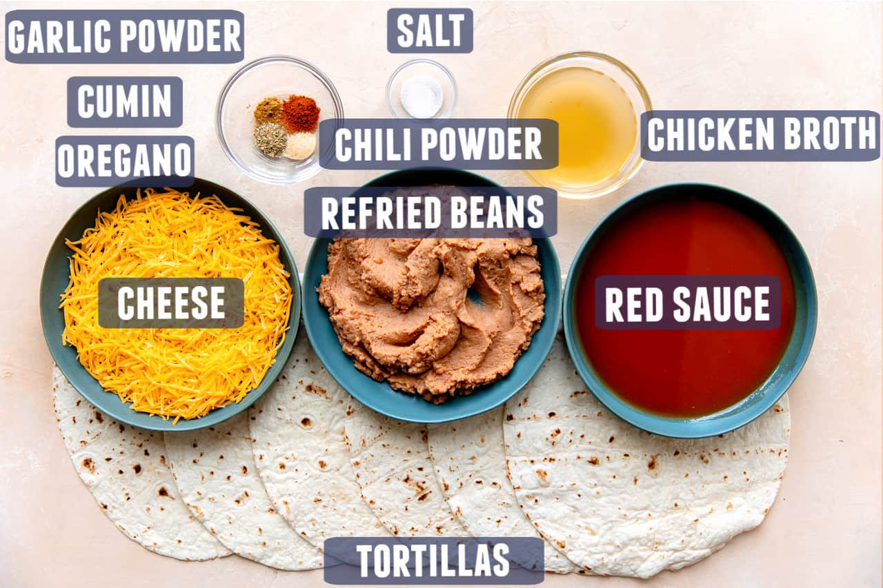 Ingredients needed to make homemade bean and cheese burritos laid out on the counter.