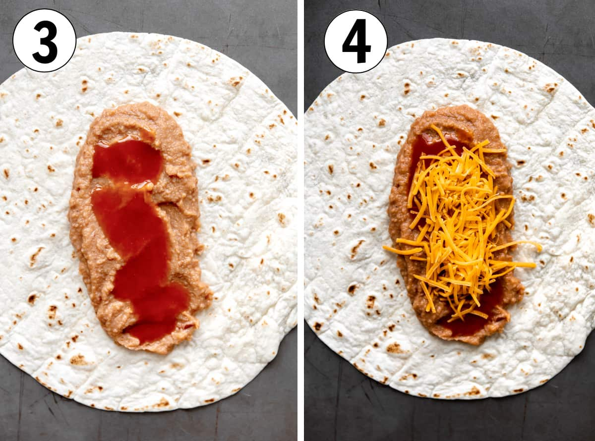 how to make homemade bean burritos, showing layer sauce and cheese on top of beans on a flour tortilla.