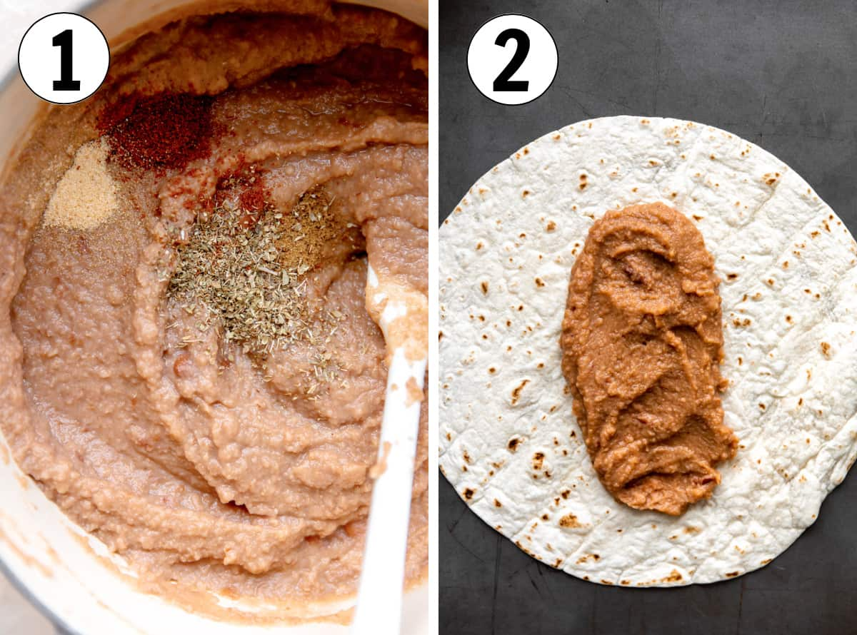 Step by step how to make bean burritos, showing beans cooking in a pot, then spread onto a large tortilla.