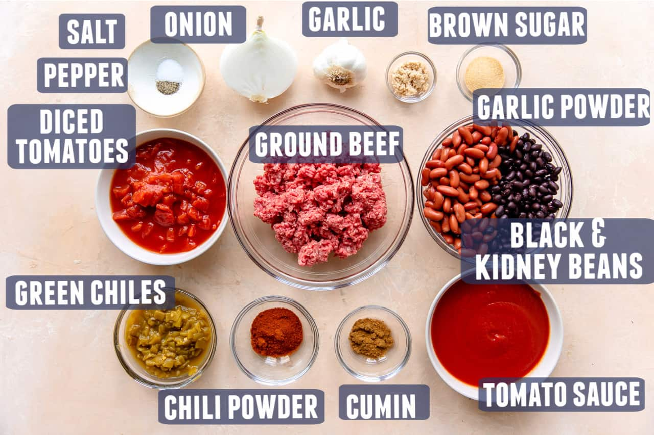 Ingredients needed for easy chili recipe laid out on the counter.