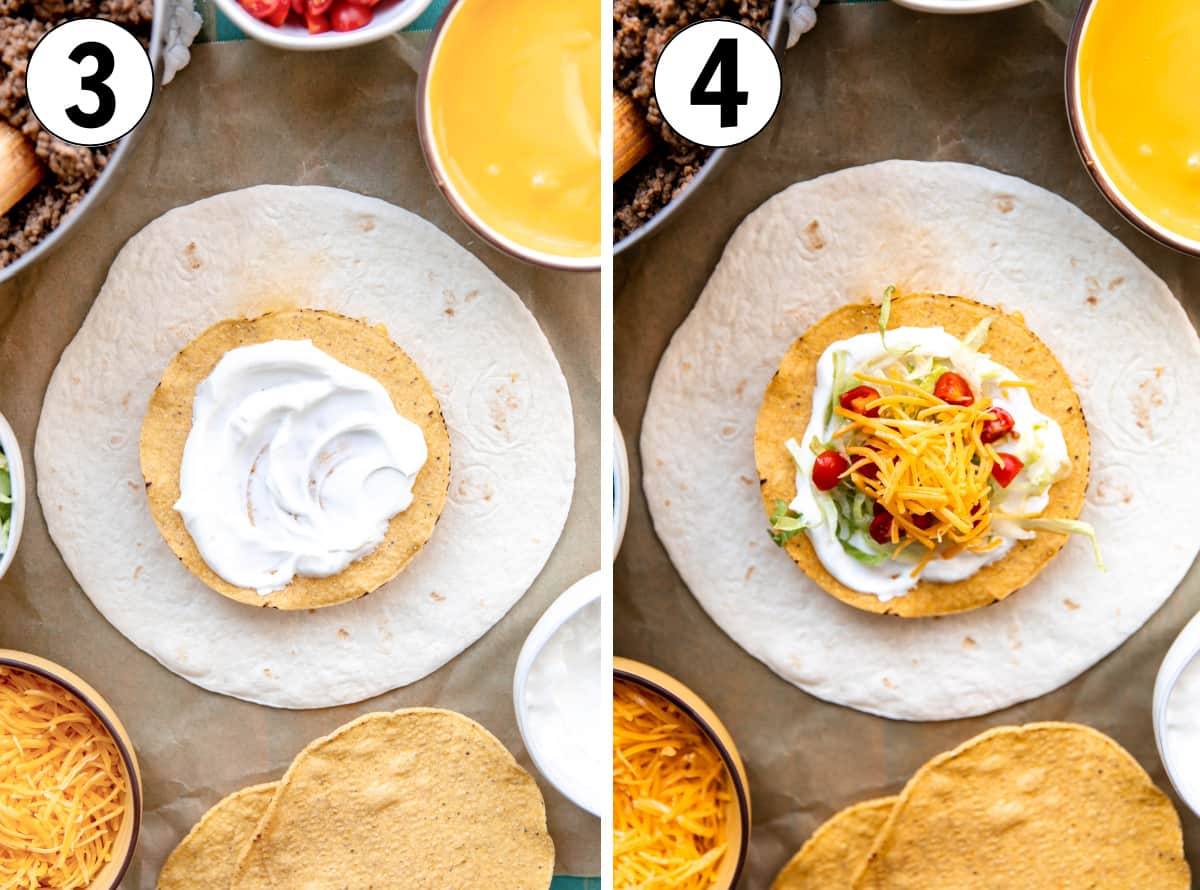 Step by step how to make homemade Crunchwraps showing layering ingredients inside of the large tortillas.