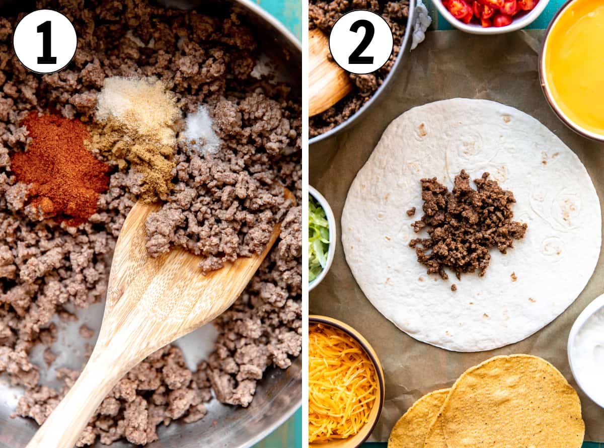 How to make homemade Crunchwraps, showing cooking the ground beef and layering it inside of a large flour tortilla.