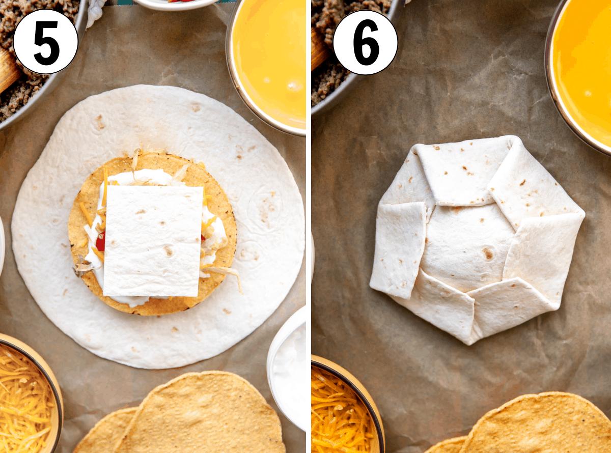 How to fold tortillas to make homemade Crunchwraps.