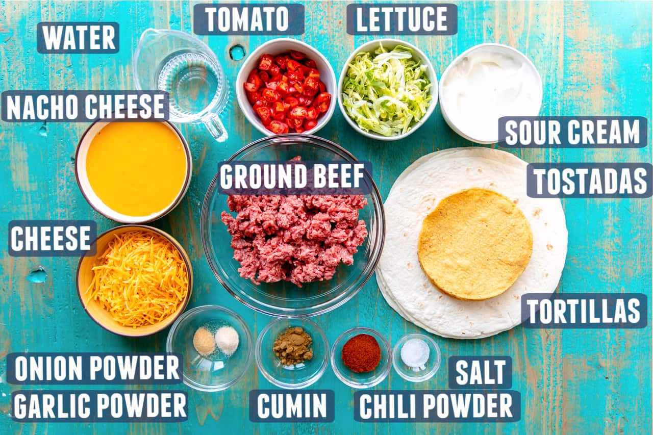 Ingredients needed to make homemade Crunchwrap supremes laid out on the counter.