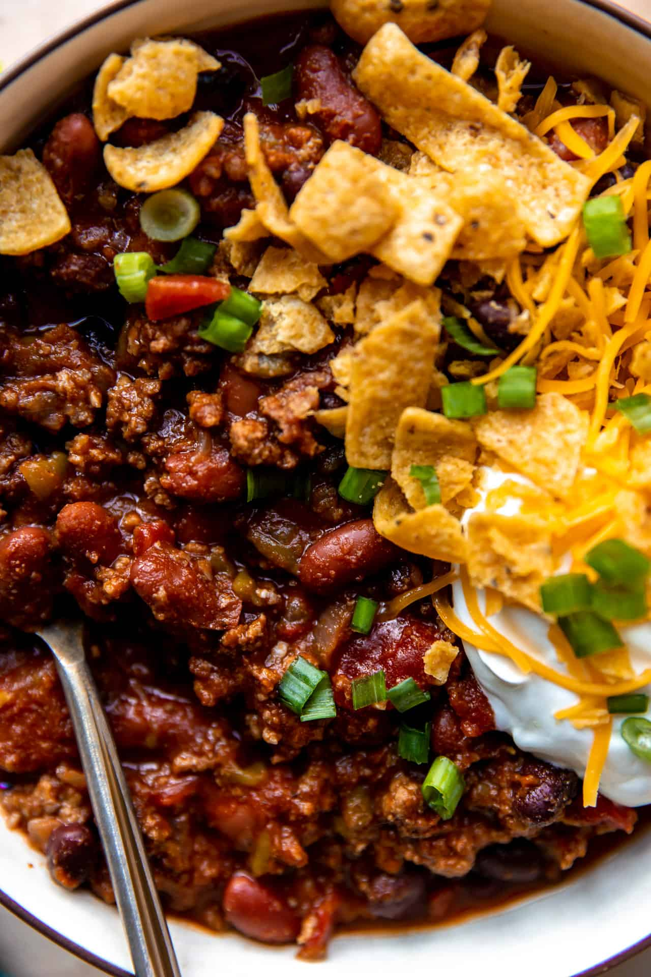 Up close view of a chunky homemade ground beef chili recipe.