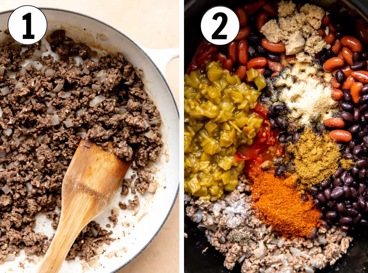 How to make an easy chili recipe, showing cooking ground beef and onion in a skillet, then all other ingredients added to a large pot.