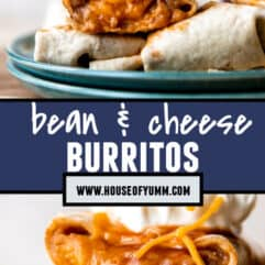 Pinterest image of bean and cheese burritos.